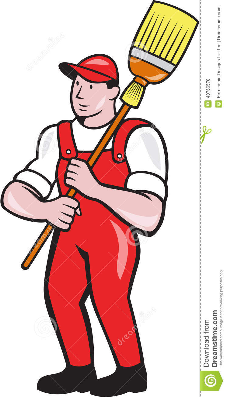 Illustration Of A Janitor Cleaner Worker Holding Broom Sweep Standing