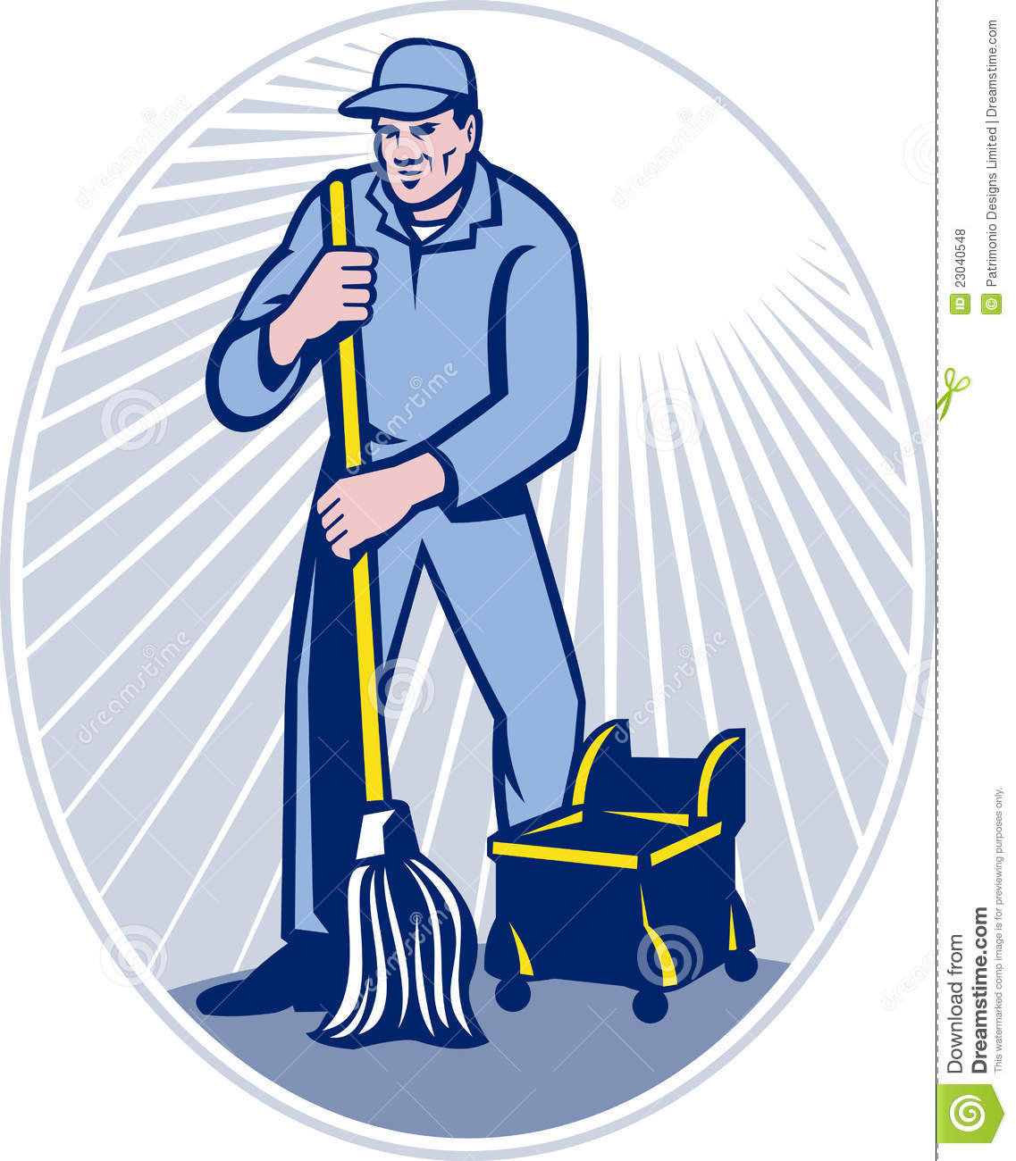 Janitor Cleaner With Mop Cleaning Retro Royalty Free Stock