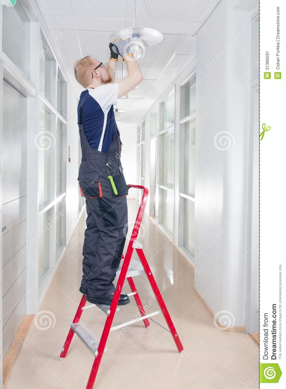 Janitor Fixing Broken Lamp Stock Image Image Of