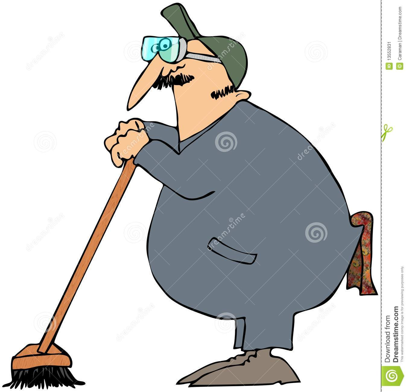 Janitor Leaning On A Broom Stock Illustration