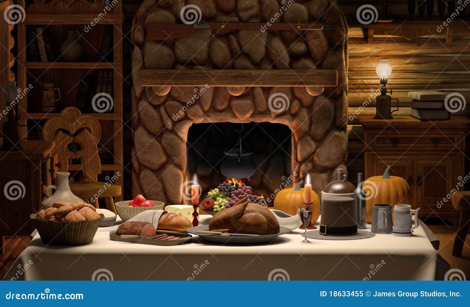 Jantar da cabine de Thanksgving