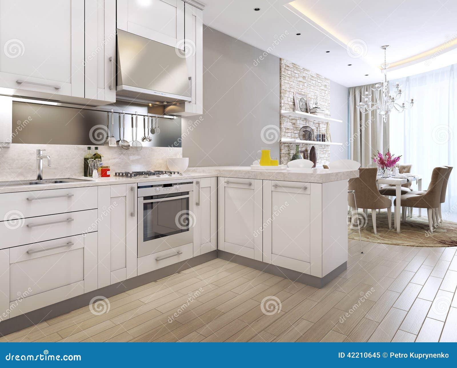 Jantar Da Cozinha No Estilo Neoclássico Ilustração Stock Imagem  #82A328 1300 1065