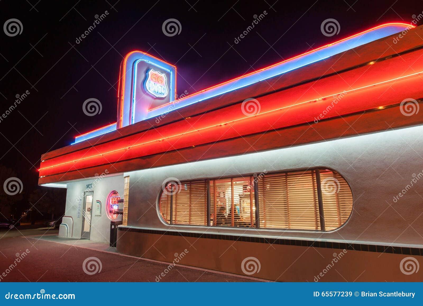 Jantar do estilo dos anos 50 em Route 66 histórico, Albuquerque, New mexico,