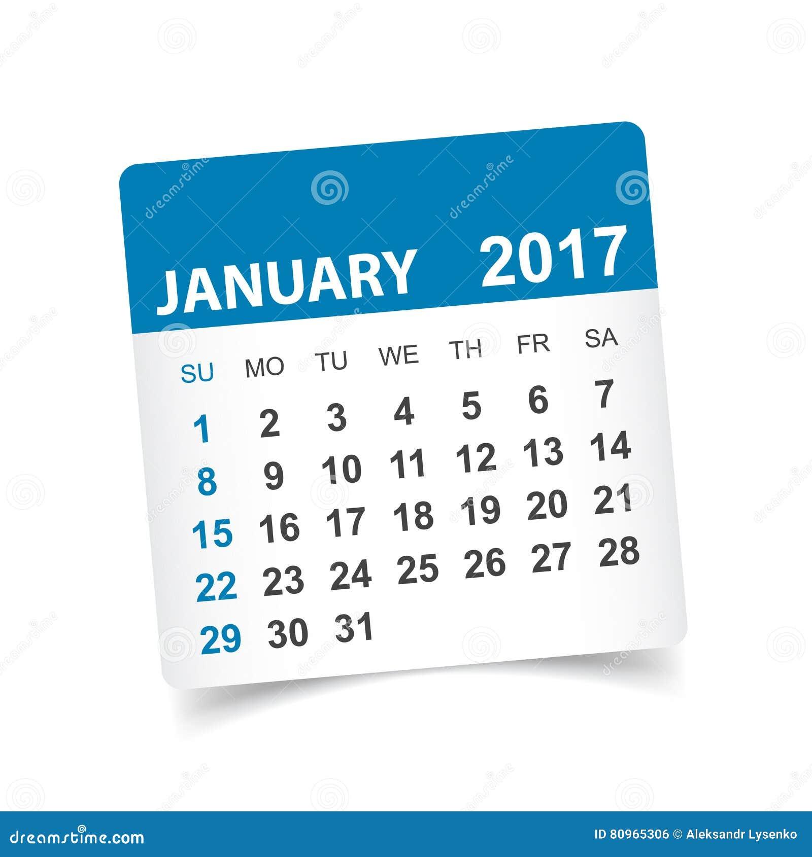 Januari 2017 kalender