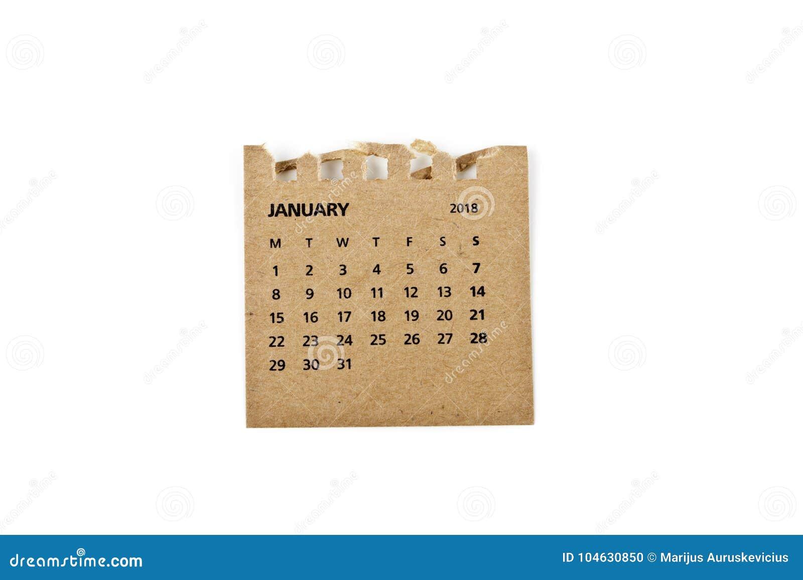 Download Januari Kalenderblad Op Wit Stock Foto - Afbeelding bestaande uit datum, cijfers: 104630850