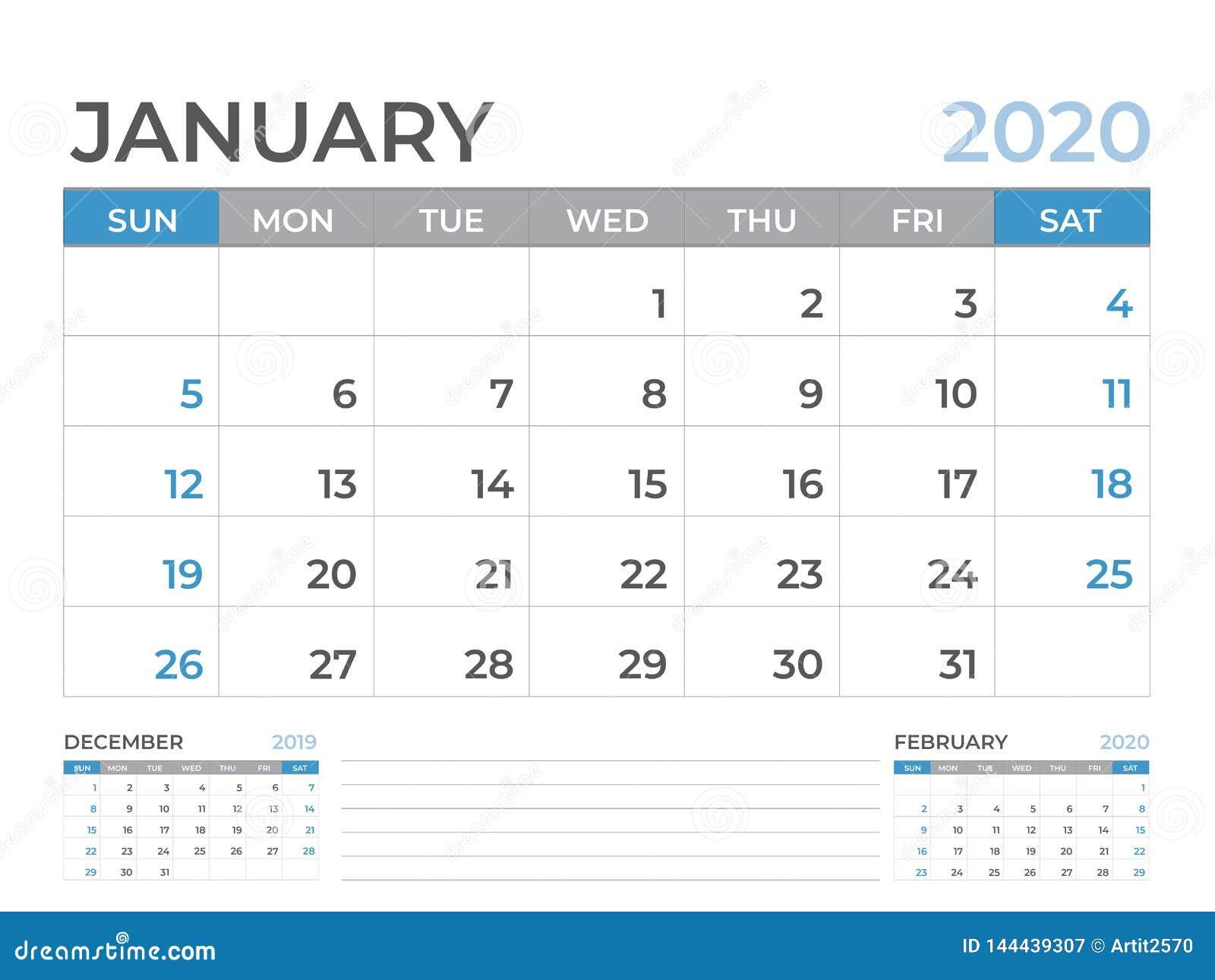 Januari 2020 kalendermall, format för skrivbordkalenderorientering 8 x 6 tum, stadsplaneraredesign, veckastarter på söndag, brevp