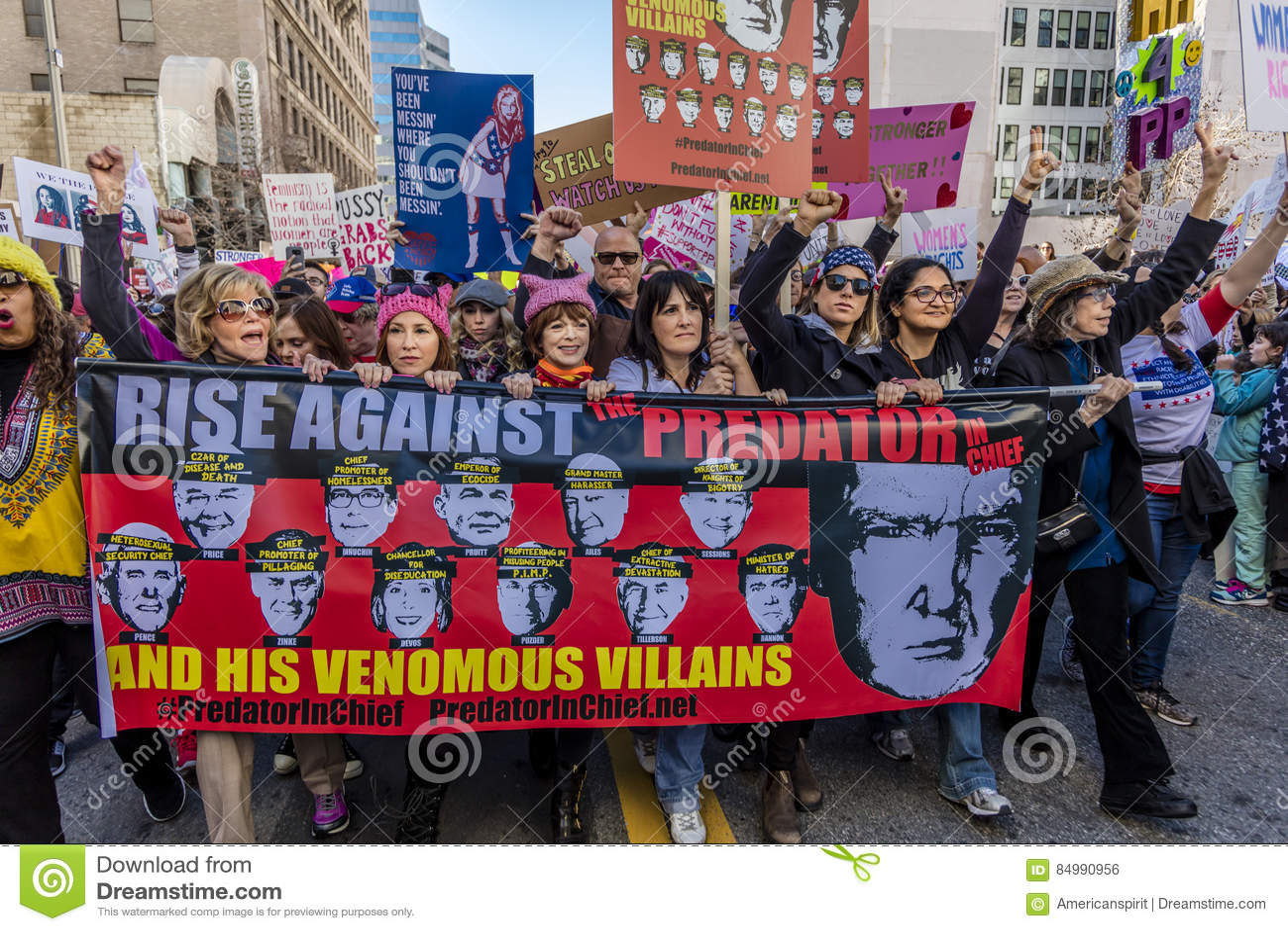 JANUARI 21, 2017, LOS ANGELES, CA Jane Fonda, Frances Fisher och Lily Tomlin (som är från vänster till höger) deltar i kvinnors m
