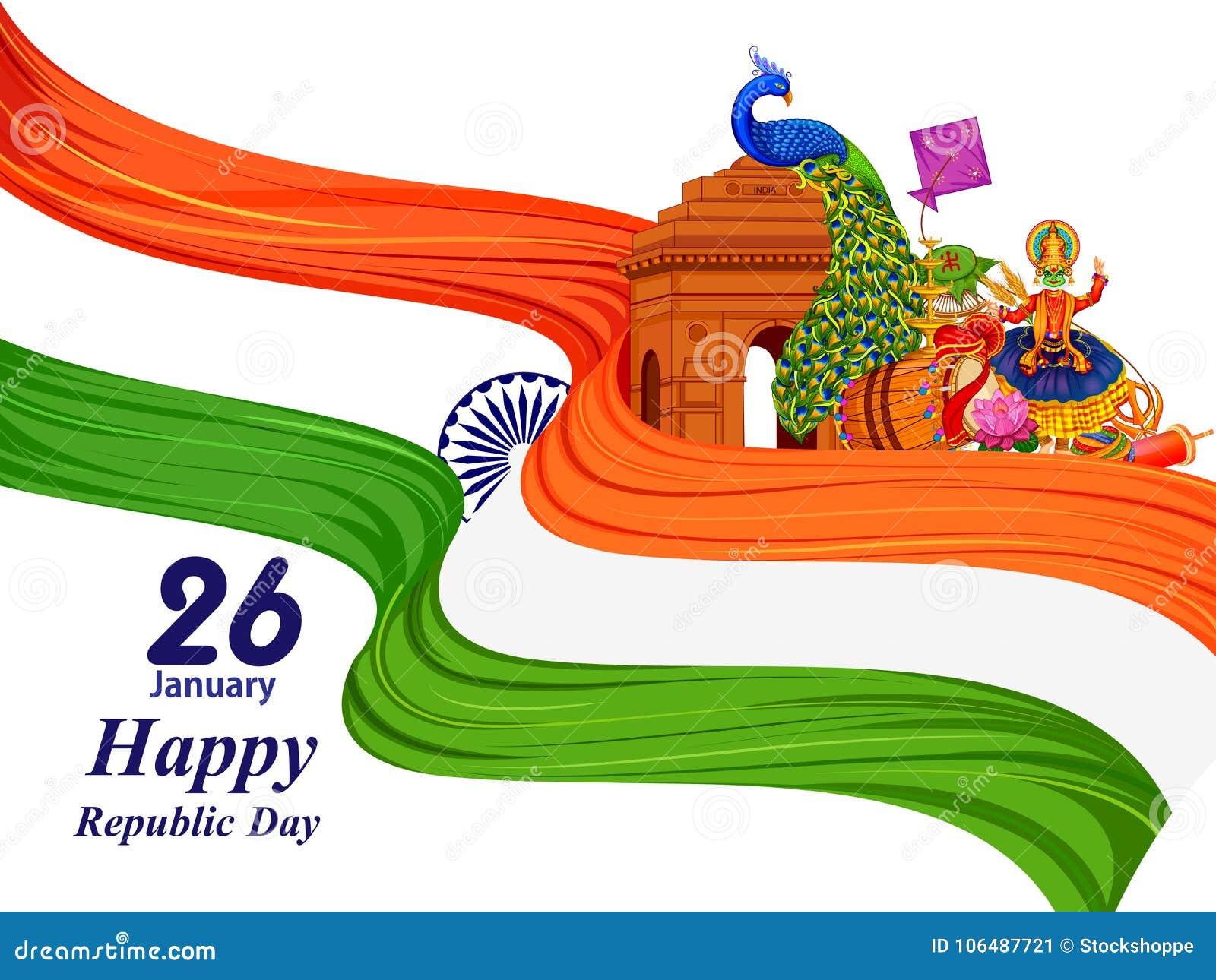 26 Januari lycklig republikdag av Indien bakgrund