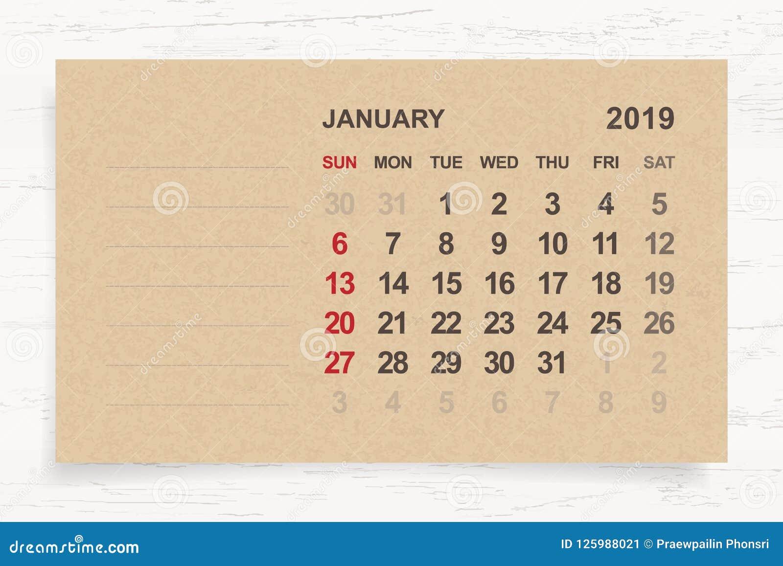 Januari 2019 - månatlig kalender på bakgrund för brunt papper och trä