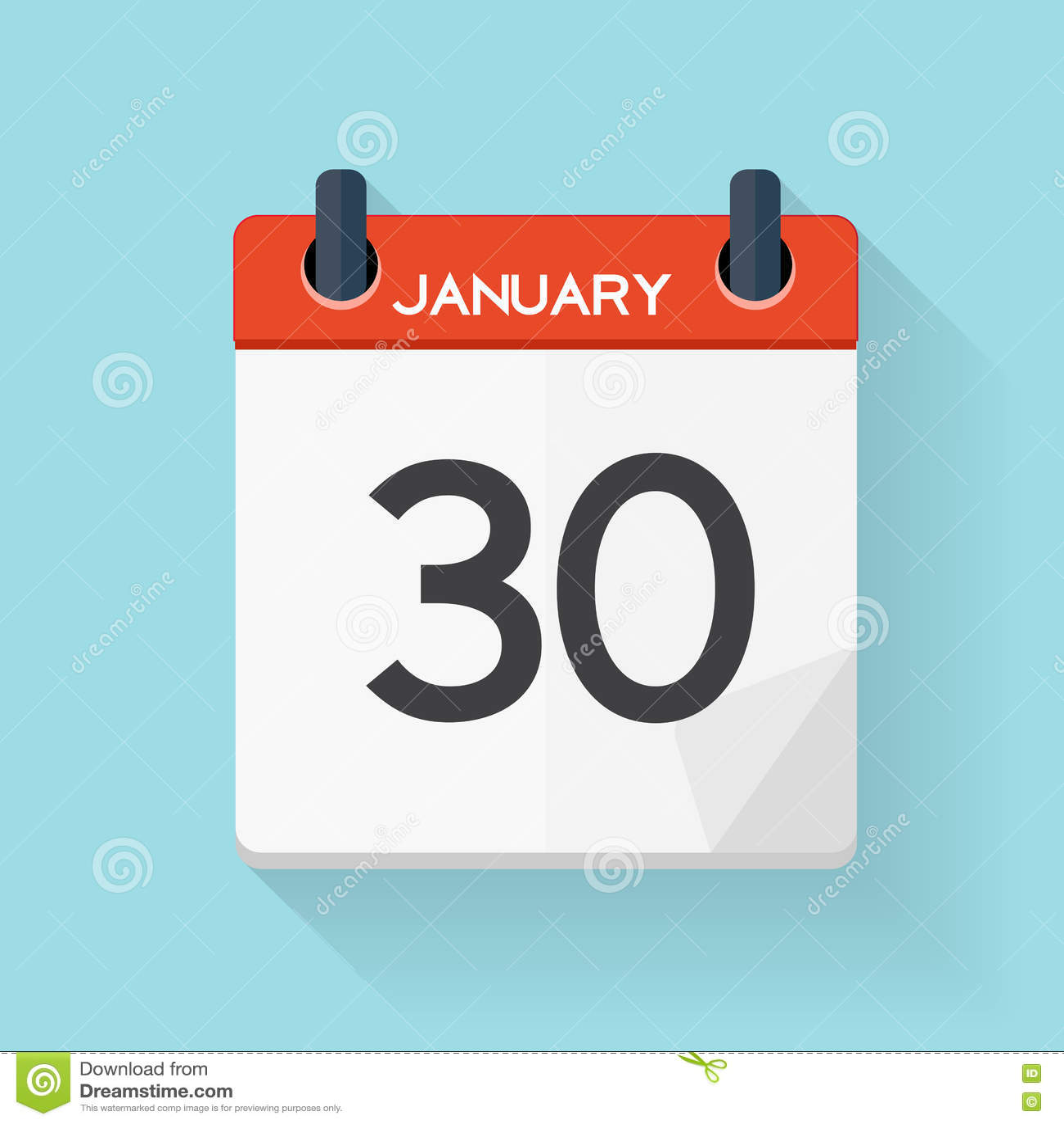 January 30 Calendar Flat Daily Icon. Vector Illustration Emblem.