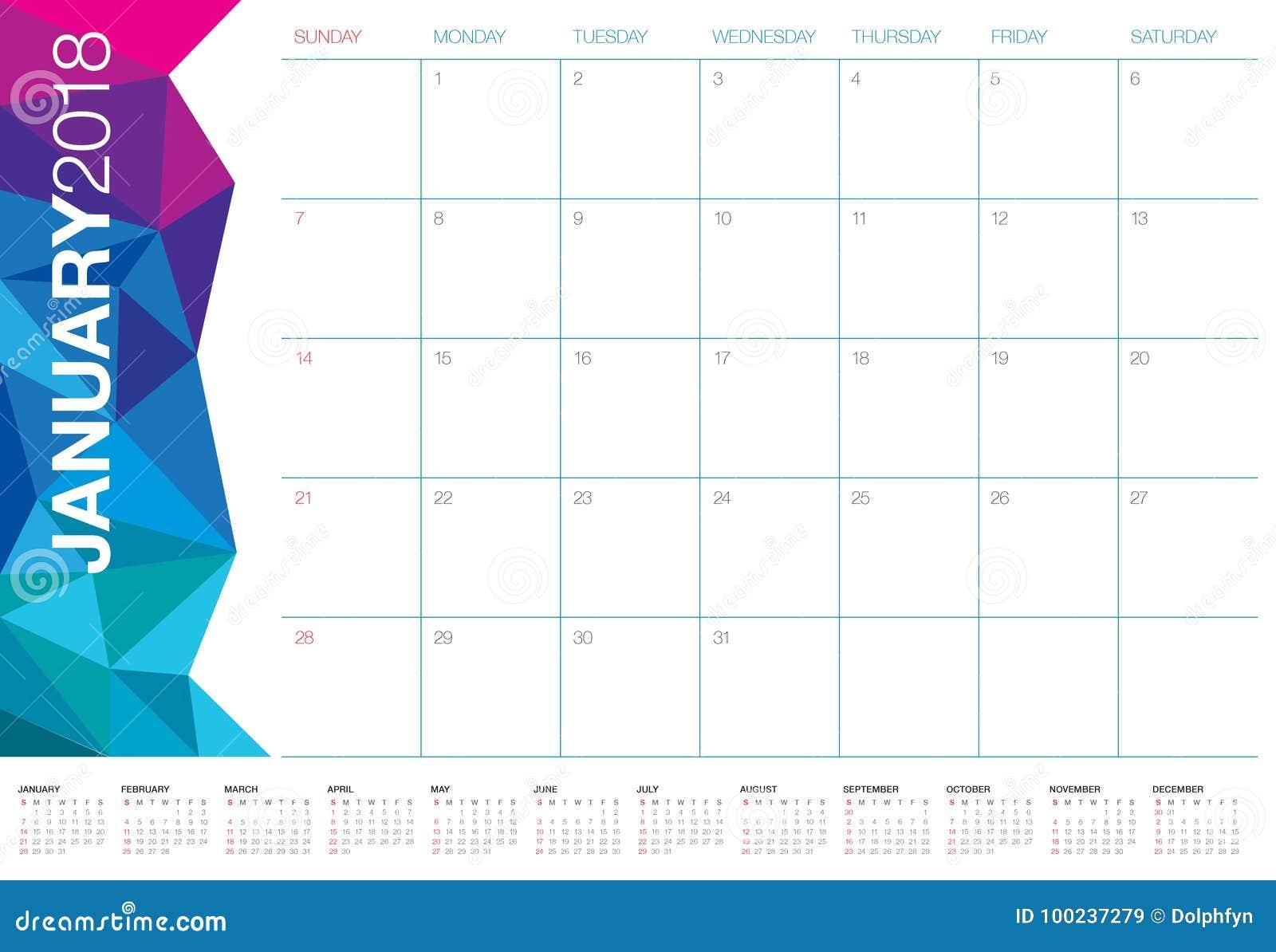 Calendar Planner Vector Free : January calendar planner vector illustration stock