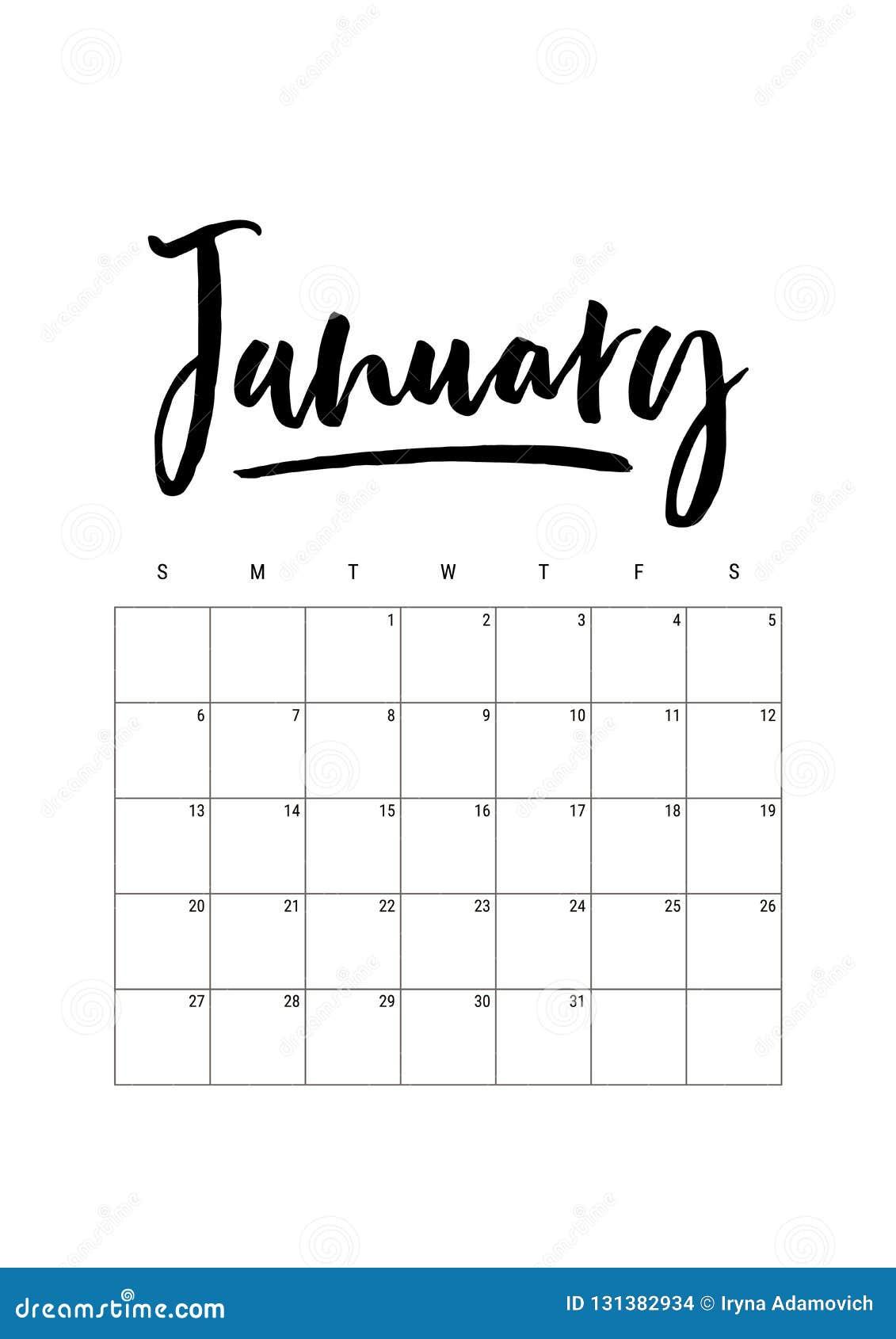 January Calendar Planner 2019 Week Starts On Sunday Part Of Sets
