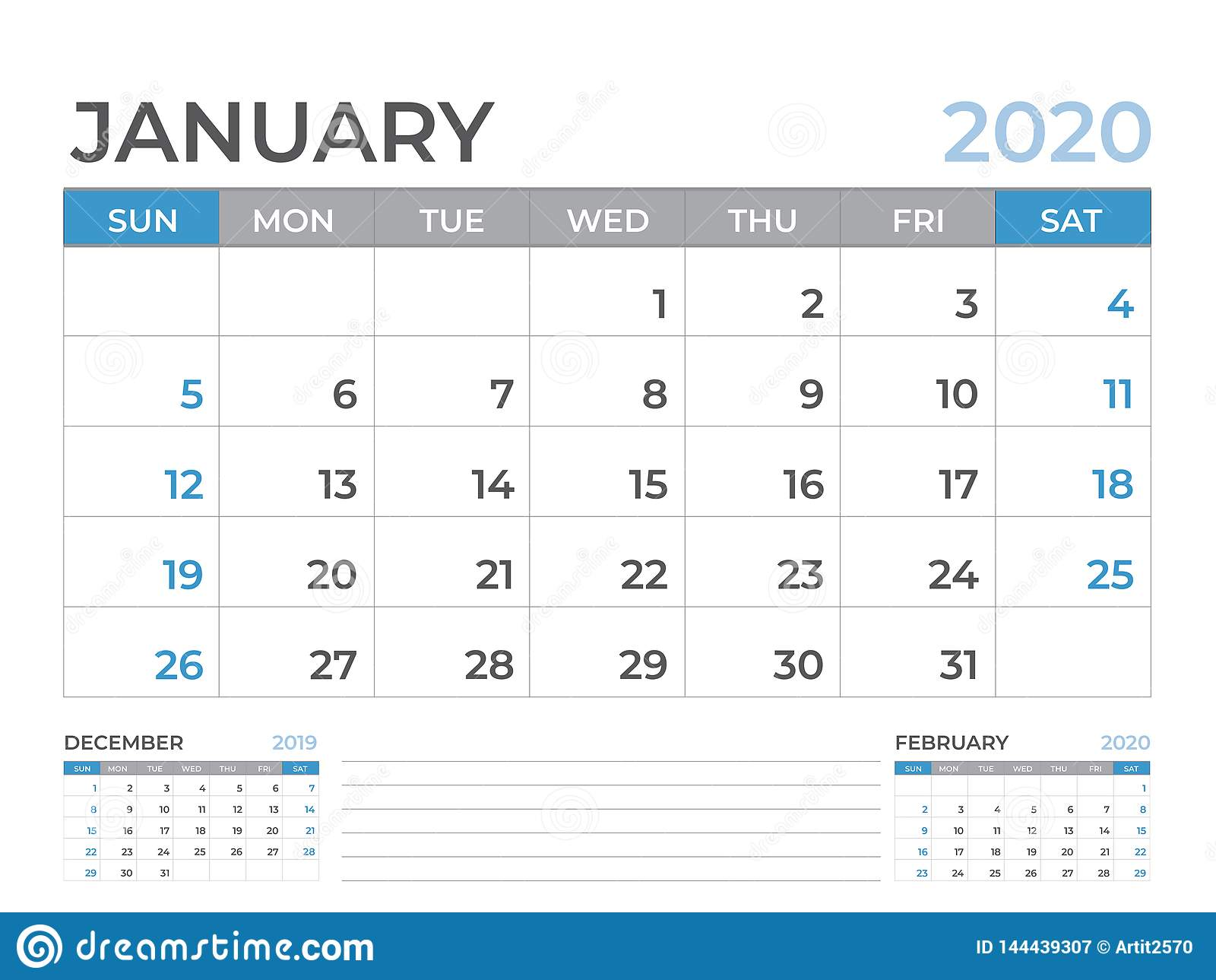Calendar 2020 January By Week January 2020 Calendar Template, Desk Calendar Layout Size 8 X 6