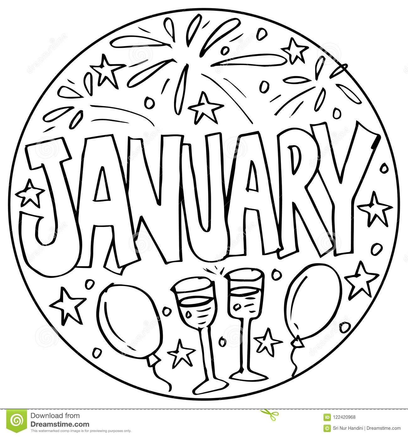 Coloring pages - Months | Stock Photo and Image Collection by ... | 1390x1300
