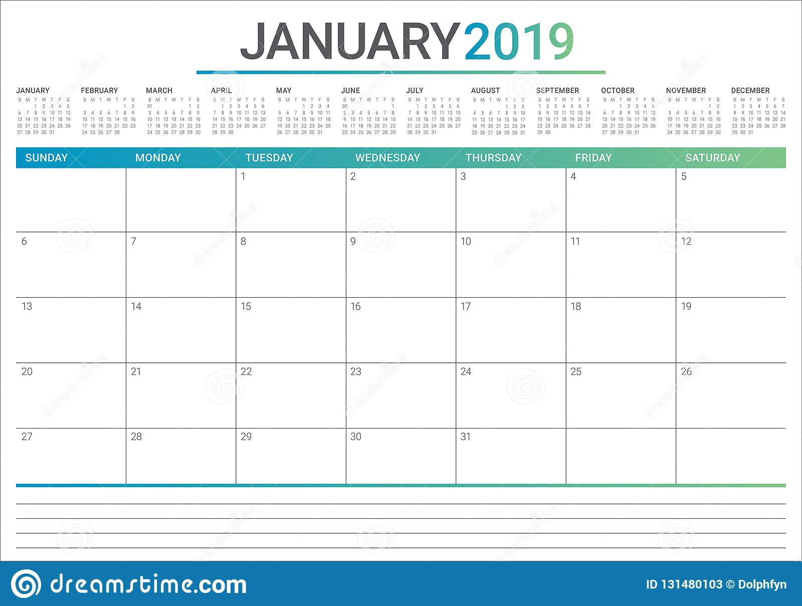 January 2019 desk calendar vector illustration, simple and clean design