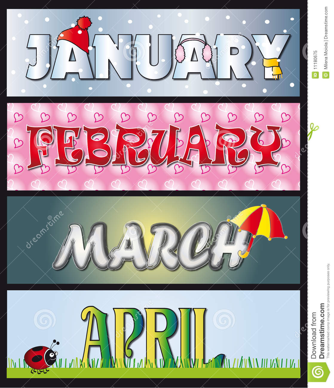 January February March April Royalty Free Stock Photo - Image ...