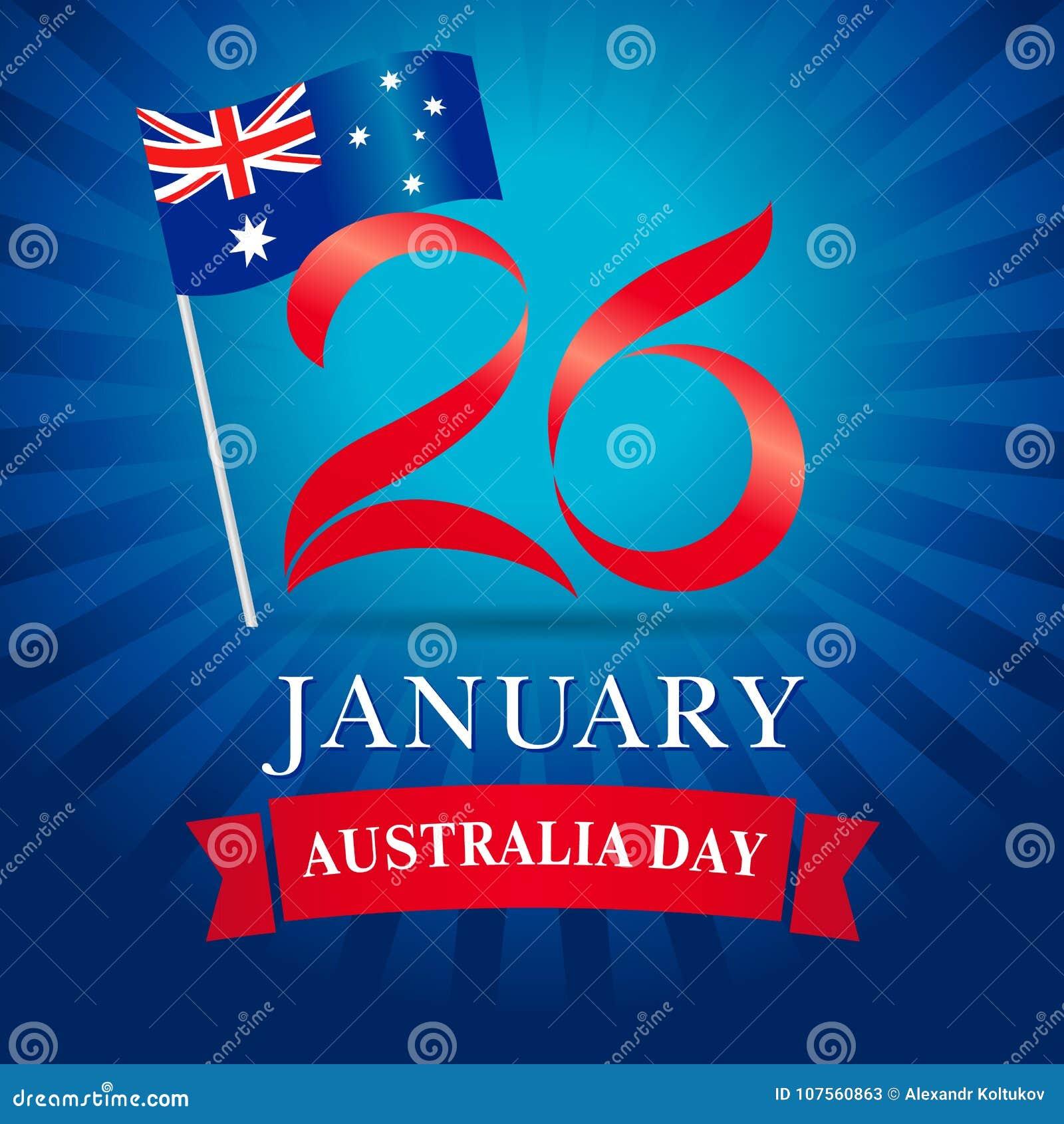 26 January Happy Australia Day Greeting Card Blue Stock Vector