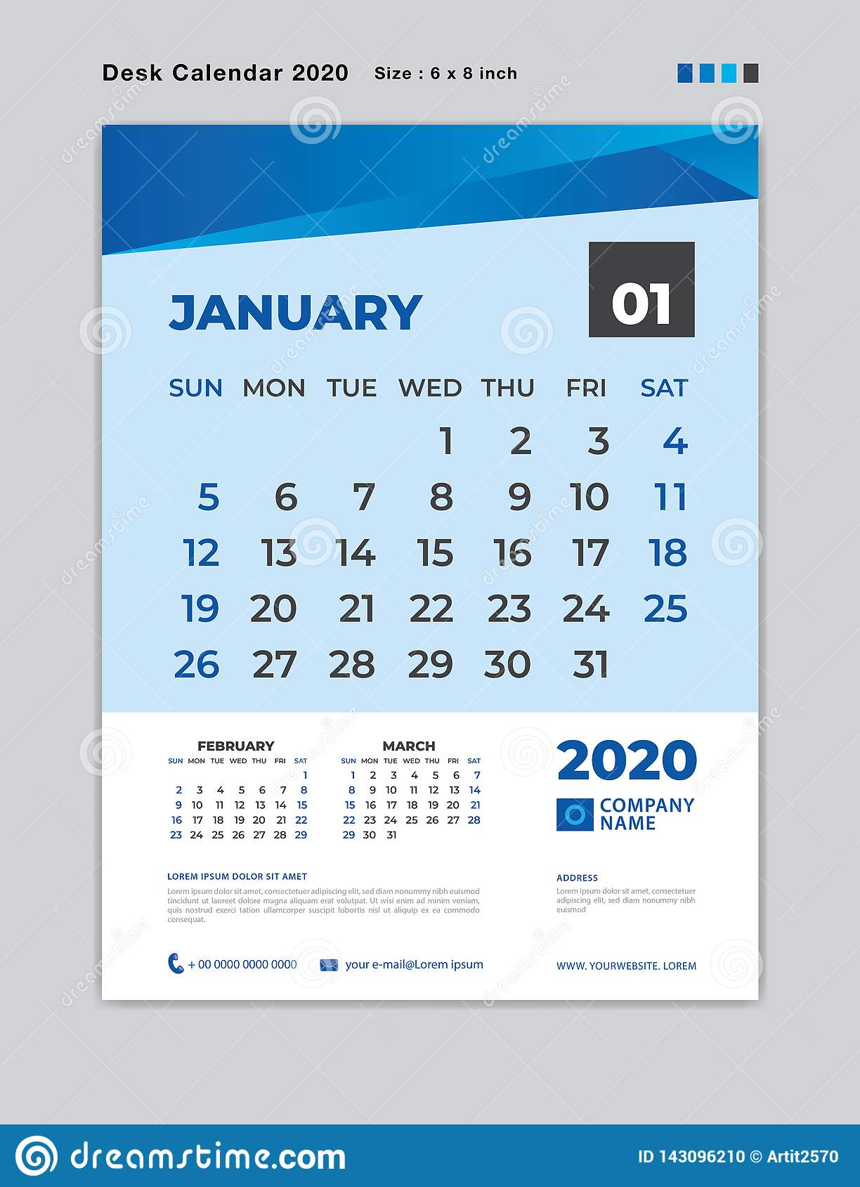 January 2020 Month template, Desk Calendar for 2020 year, week start on sunday, planner, stationery, Blue Concept