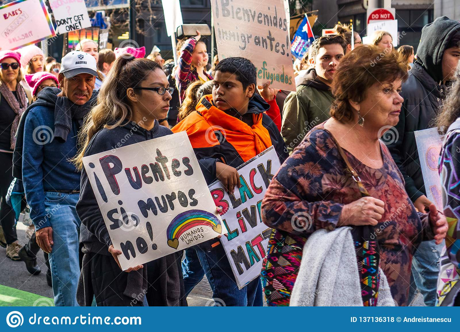 January 19, 2019 San Francisco / CA / USA - Women`s March participants holding signs