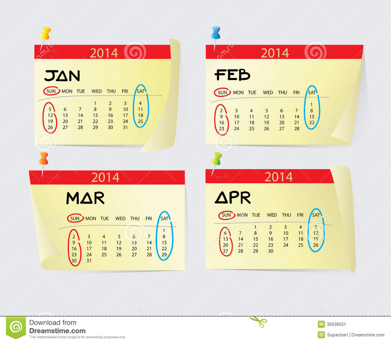 january to april calendar 2014