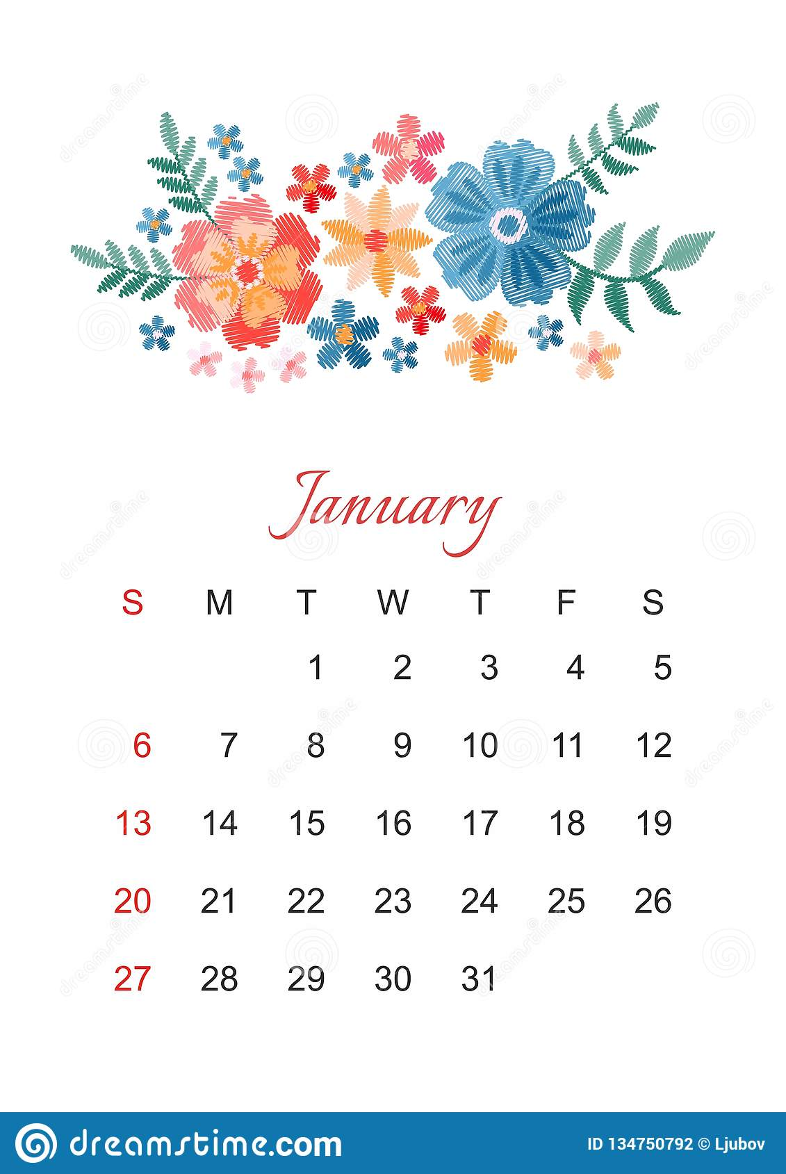 january  vector calendar template for 2019 year with