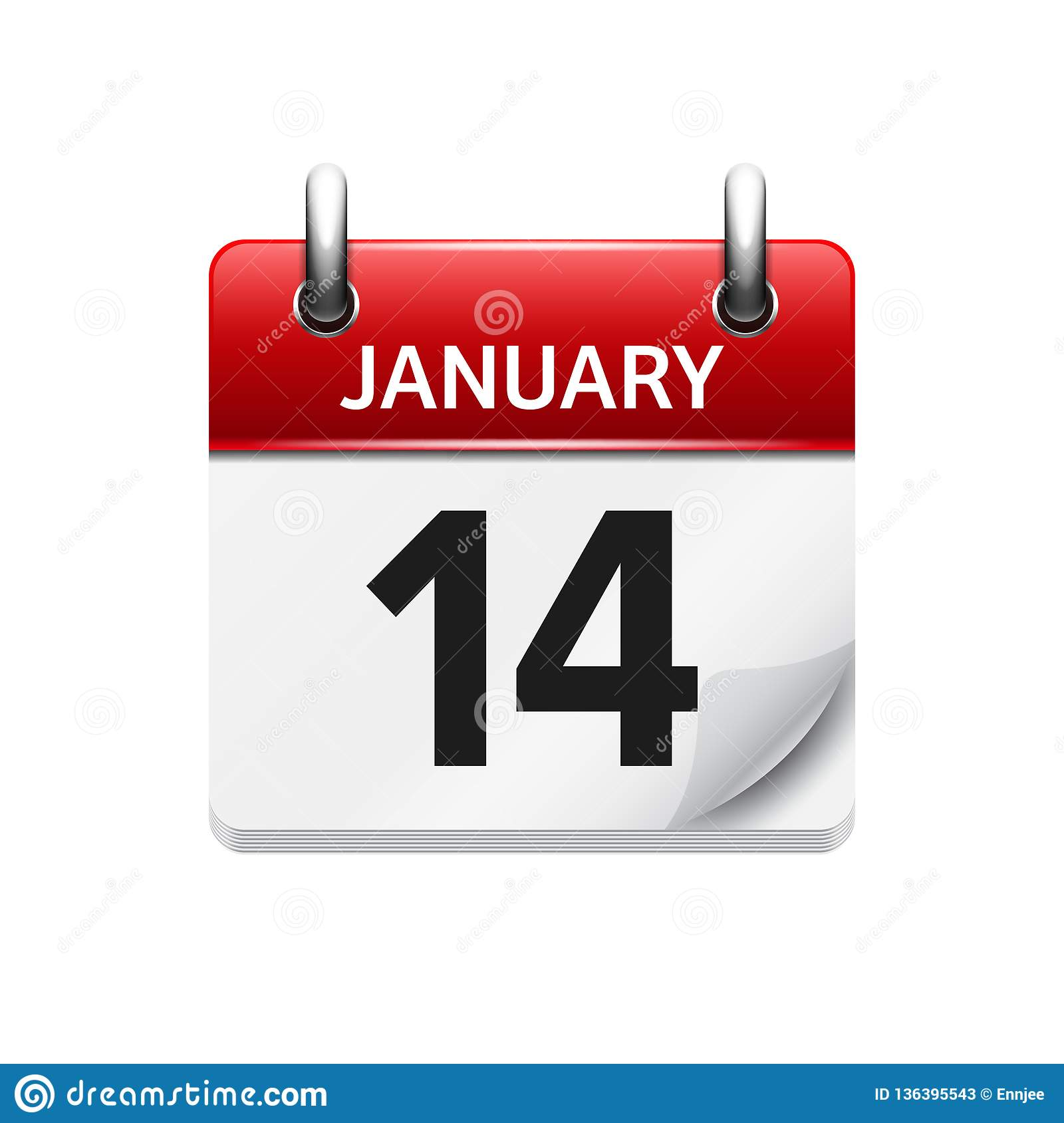 January 14 Vector Flat Daily Calendar Icon Date And Time Day