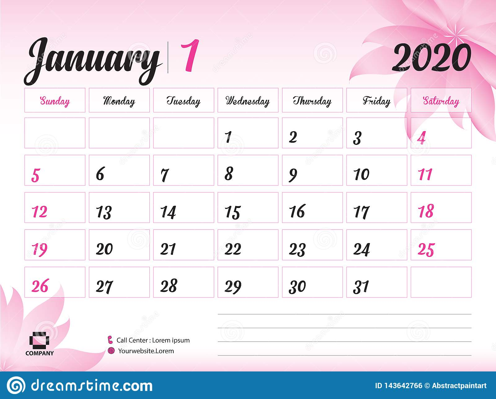 Printable Calendar 2020 January January 2020 Year Template, Calendar 2020 Vector, Desk Calendar