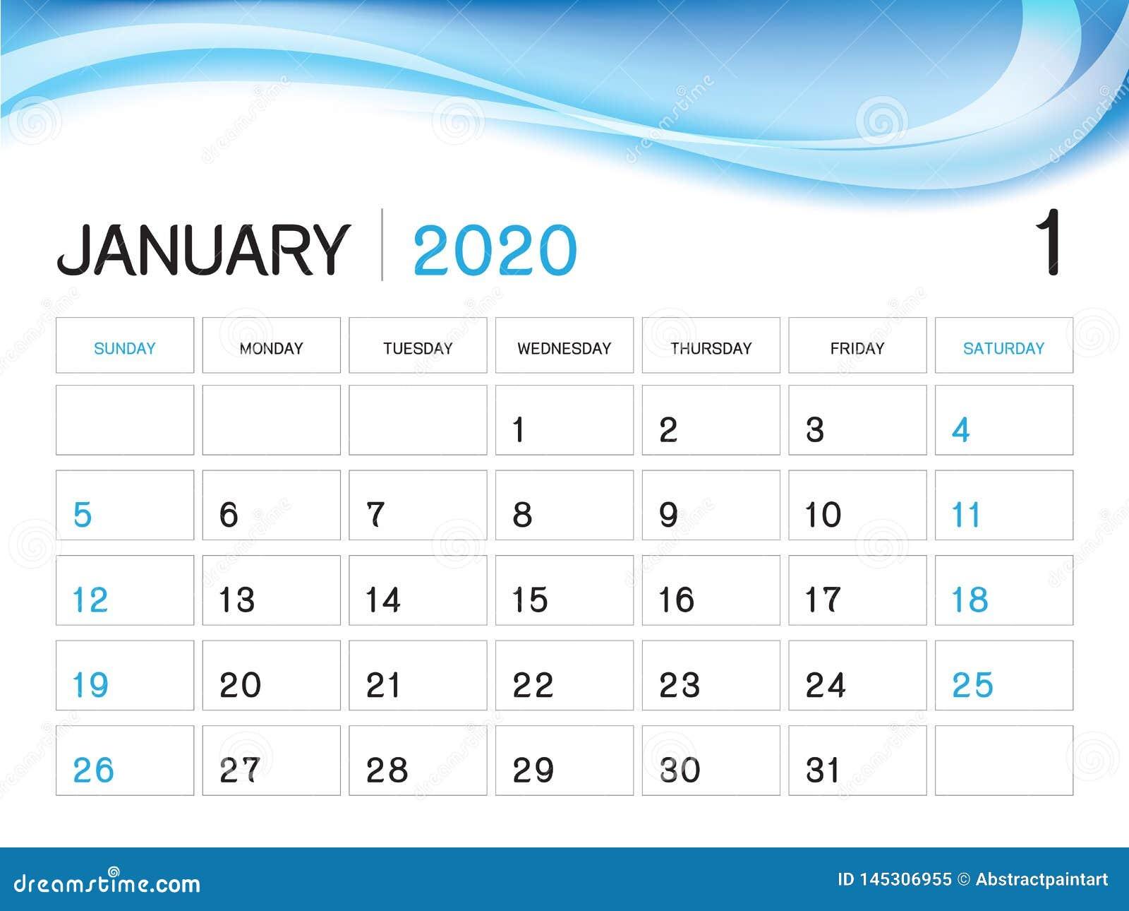 Printable Calendar January Weeks 2020 January 2020 Year Template, Calendar 2020 Vector, Desk Calendar