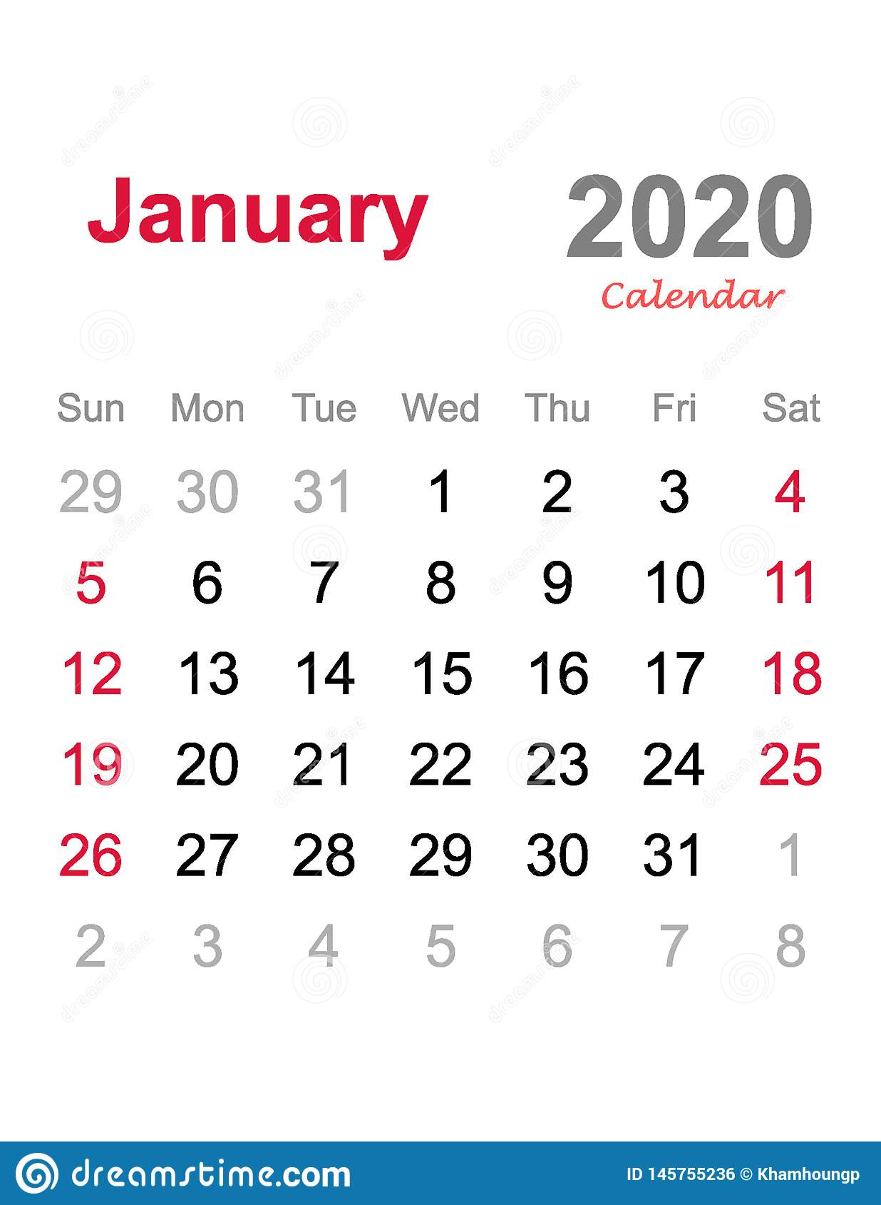 Calendrier 2020 Vectoriel Gratuit.Janvier 2020 Calendrier Calibre Mensuel De Calendrier