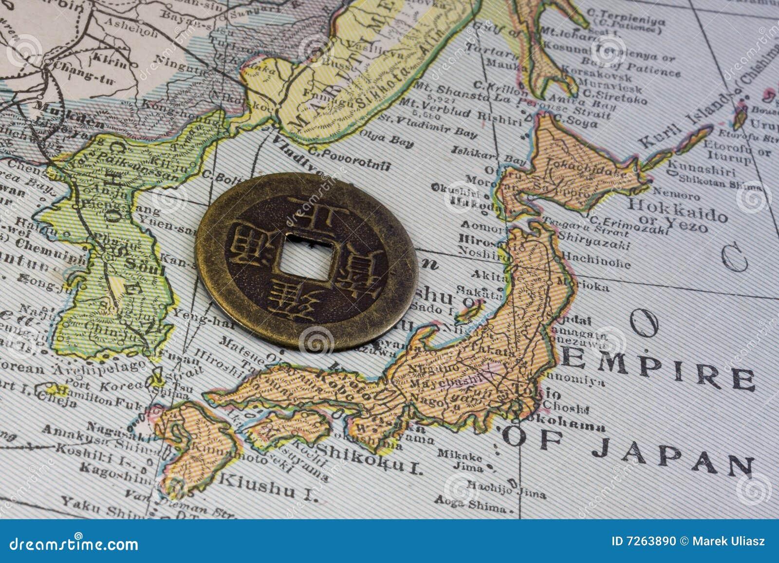 Japón en correspondencia de la vendimia y moneda vieja