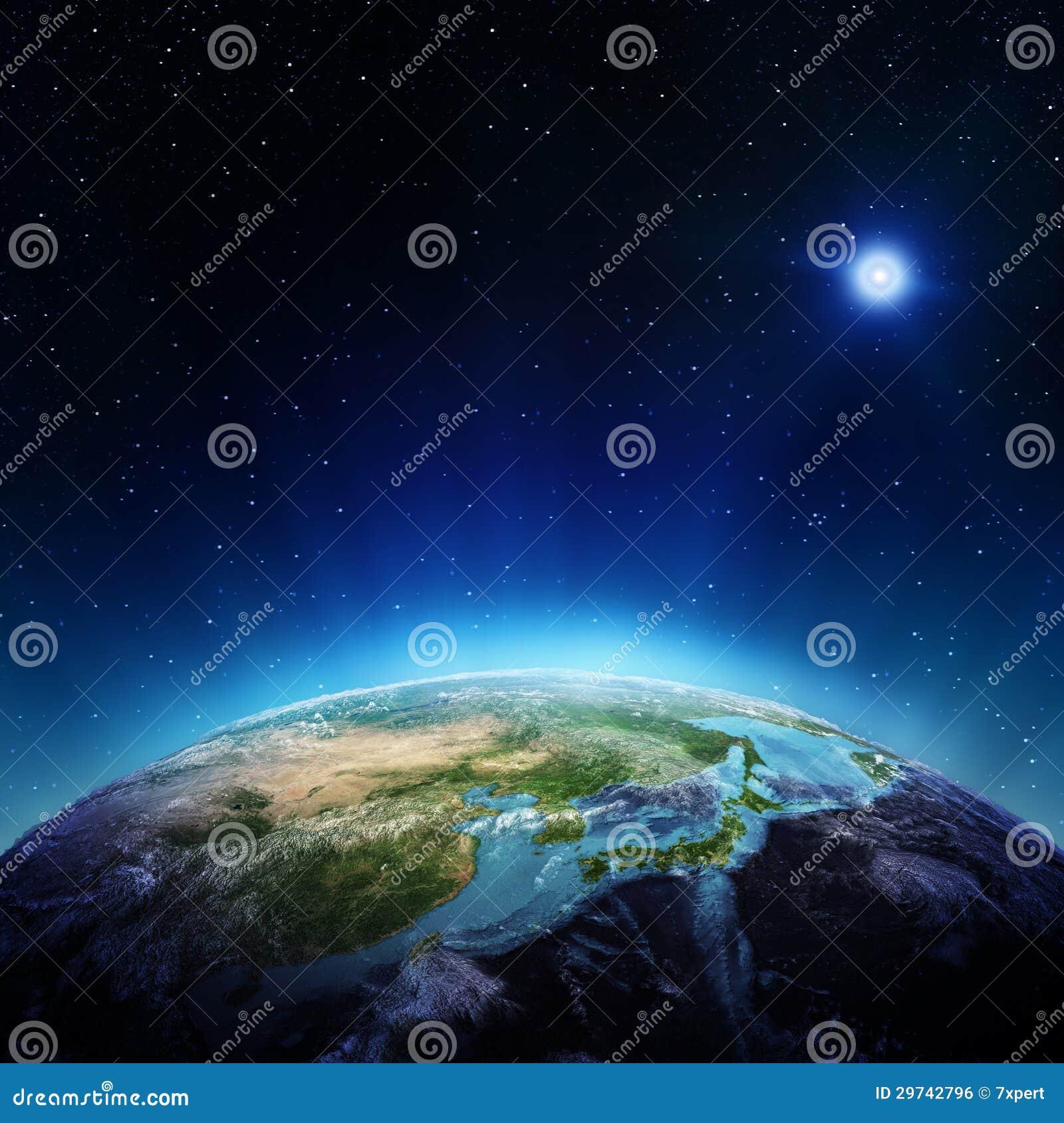 Japón y China del espacio