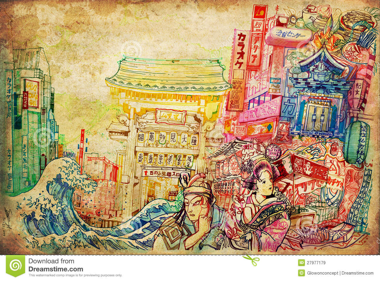 beautiful drawing of Japanese culture architecture art and painting