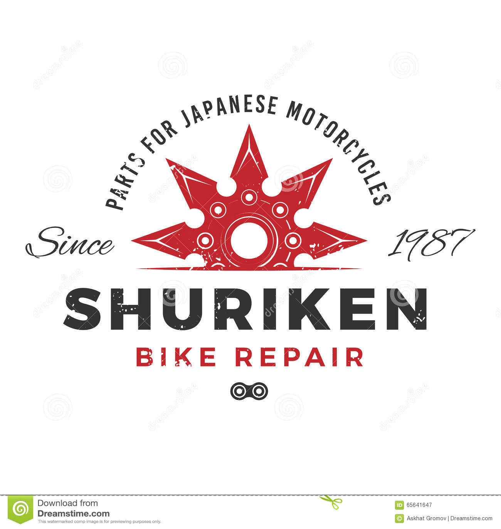 Design shirt japan - Japan Bike Repair Service Logo Concept Ninja Weapon Insignia Design Vintage Shuriken Badge