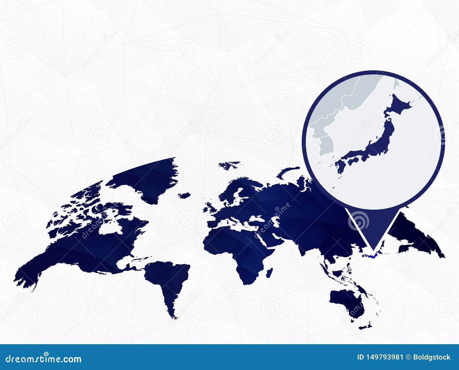 Japan Detailed Map Highlighted On Blue Rounded World Map Stock Vector Illustration Of Diamond Lighten 149793981