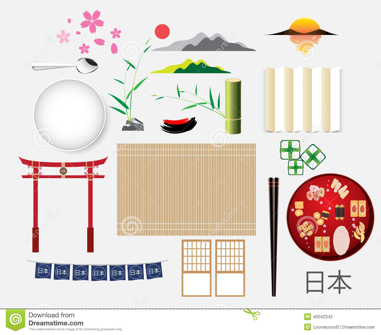 japan elements object and symbol collection vector illustration stock vector image 45042342. Black Bedroom Furniture Sets. Home Design Ideas