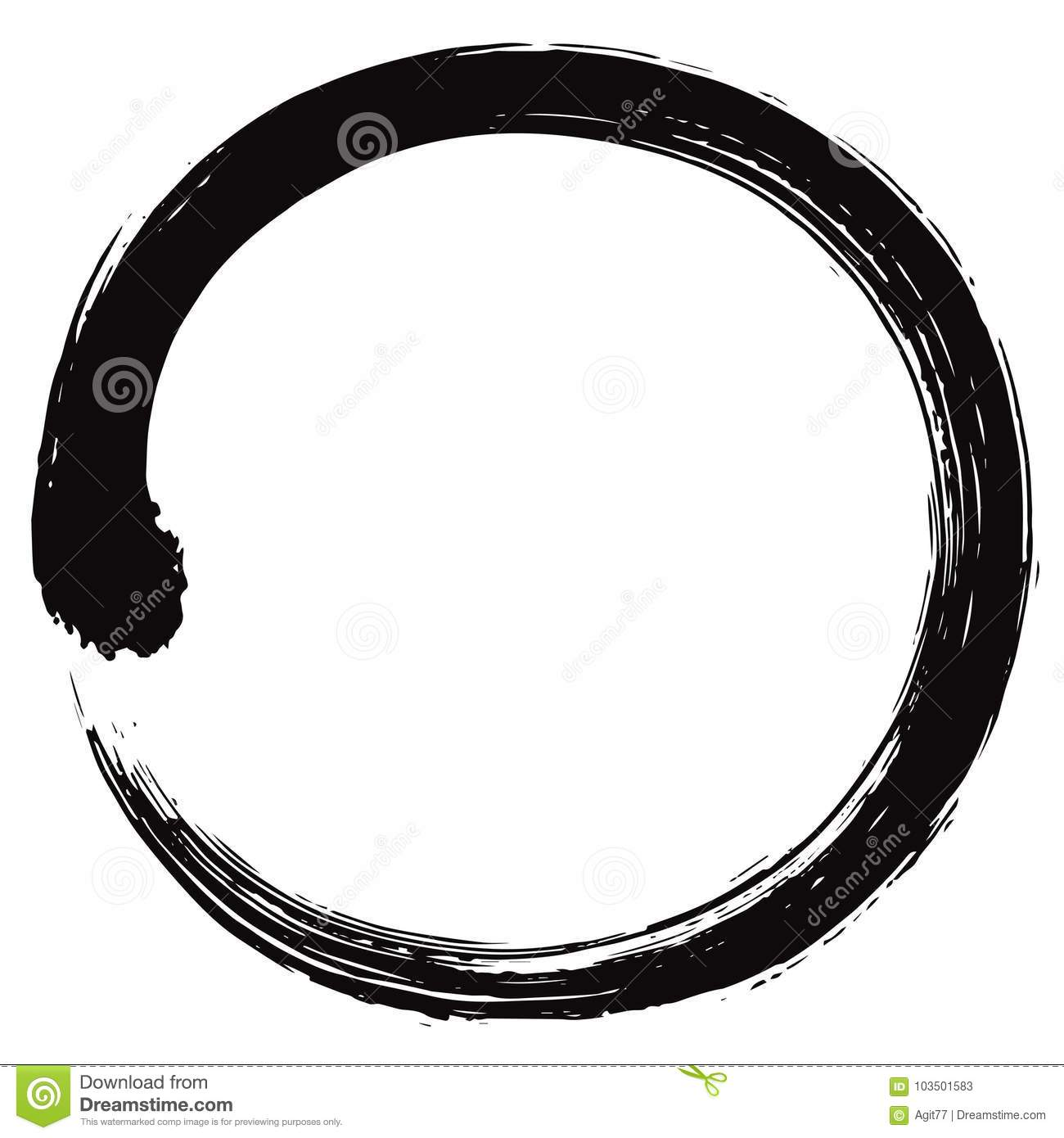 Japan Enso Zen Circle Brush Vector