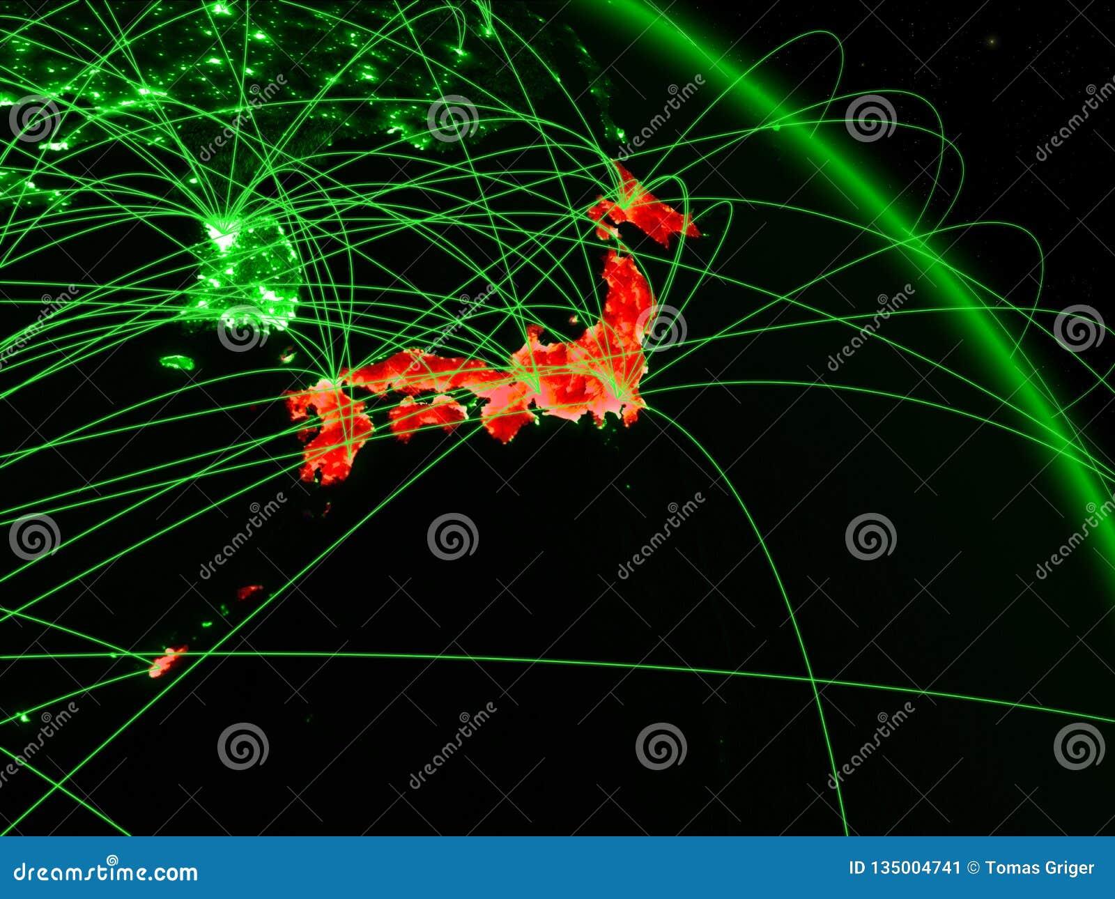 Japan on green globe