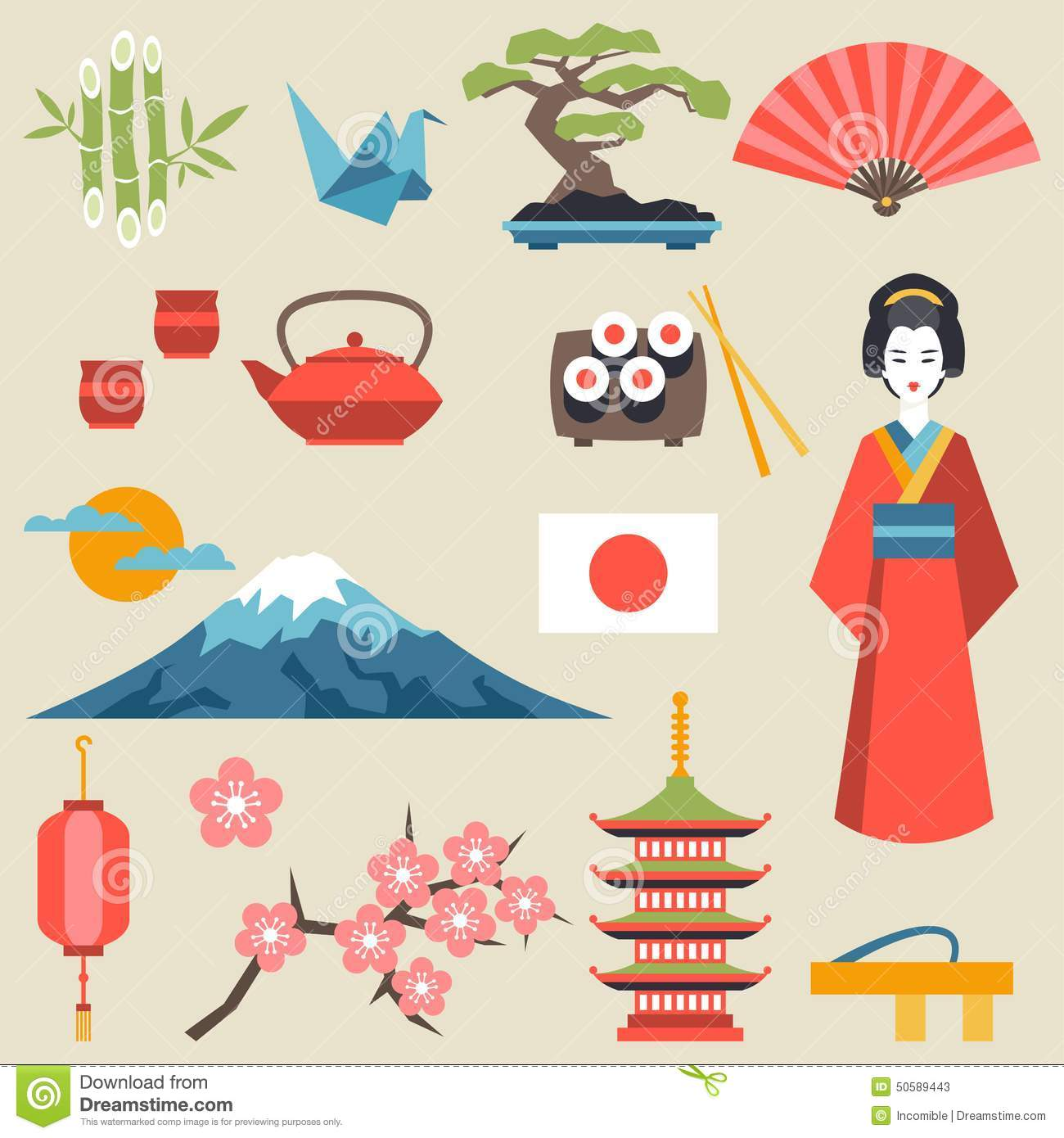 Japan Icons And Symbols Set Stock Vector Illustration Of Nature