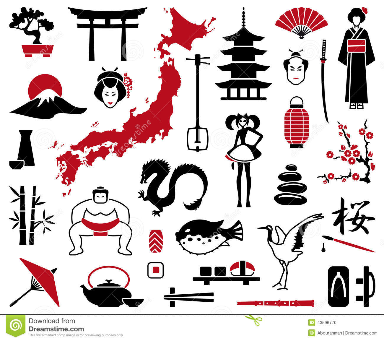 Japan Icons Stock Vector Image 43596770