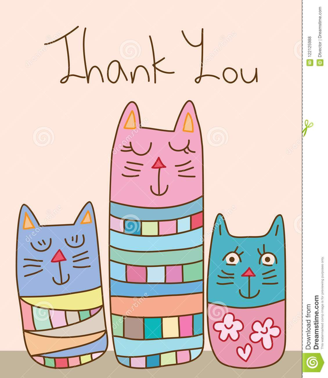 Japan Kokeshi Style Abstract Cat Thank You Card Stock Vector
