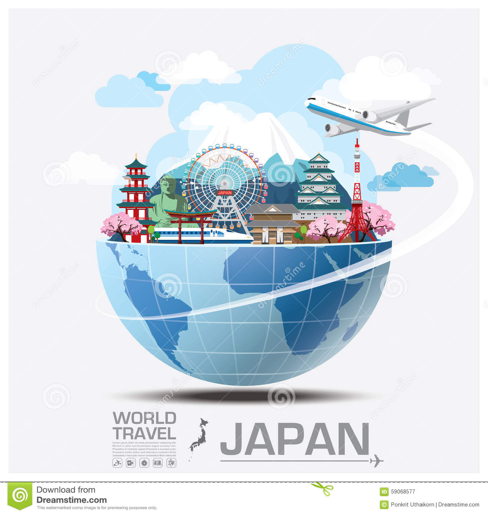 japan travel brochure template - japan landmark global travel and journey infographic stock