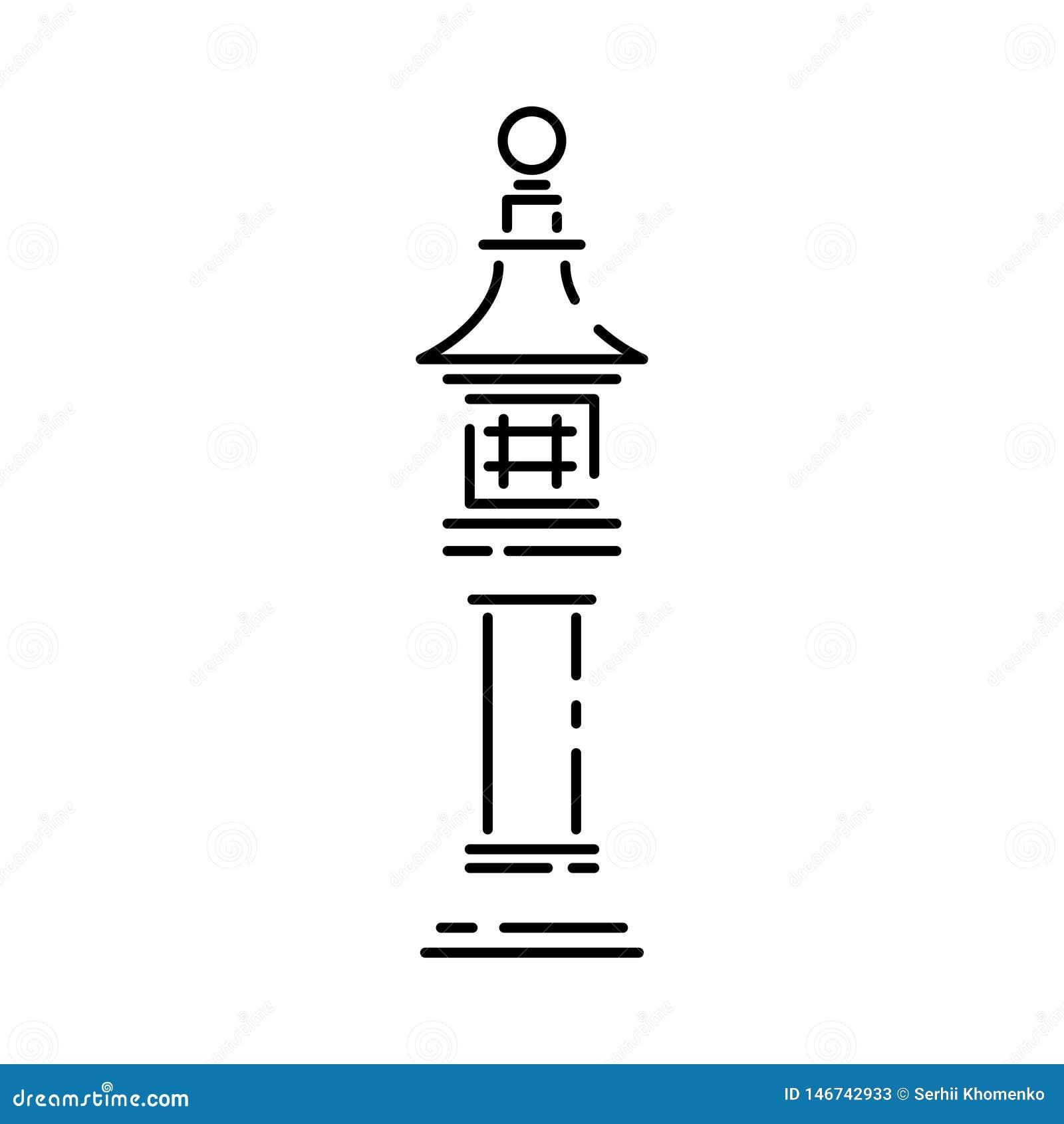 Japan landmark - temple, shrine, castle, pagoda, gate vector illustration simplified travel icon. Chinese, asian
