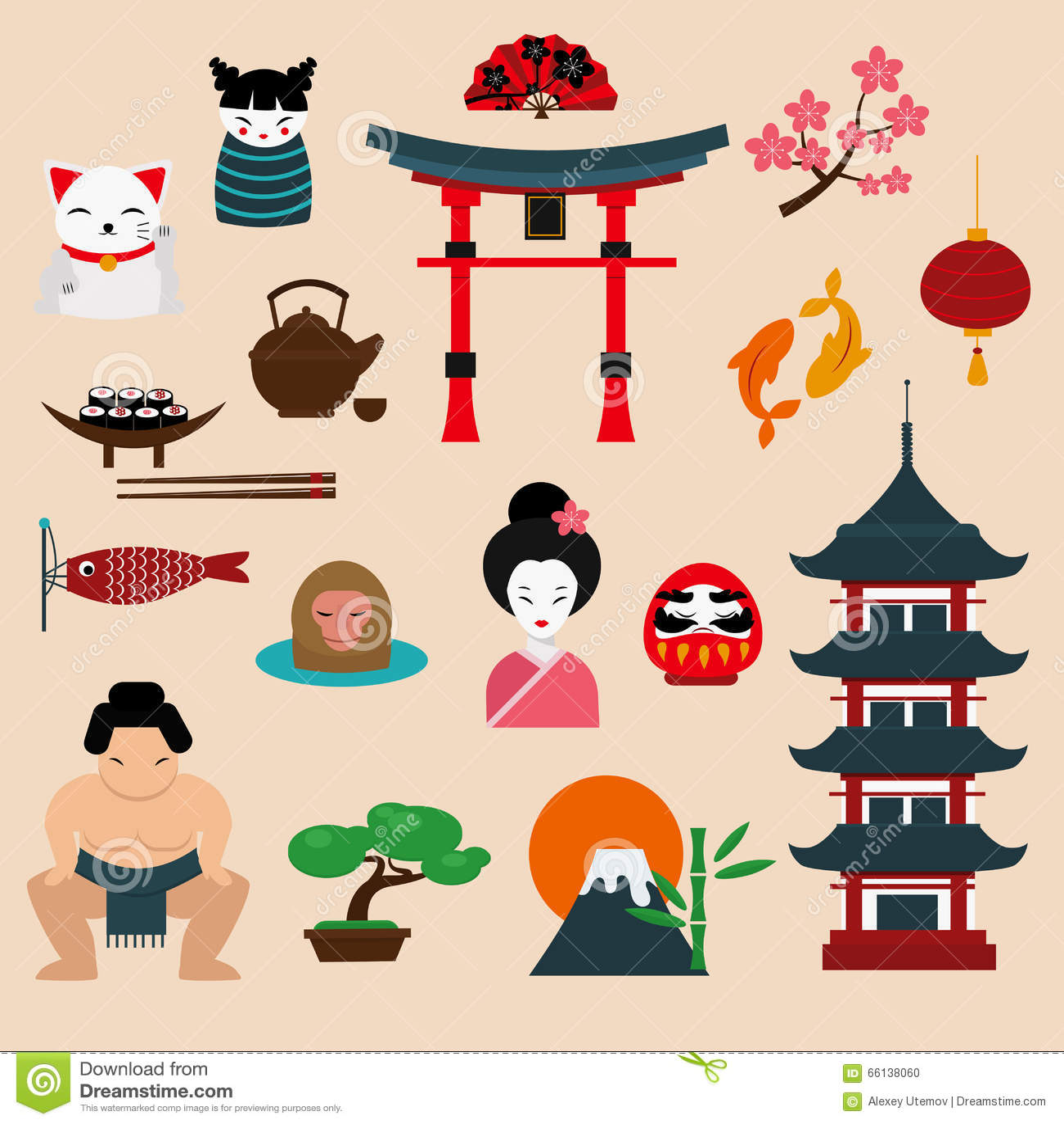 Japan Landmark Travel Vector Icons Elements Stock Vector ...