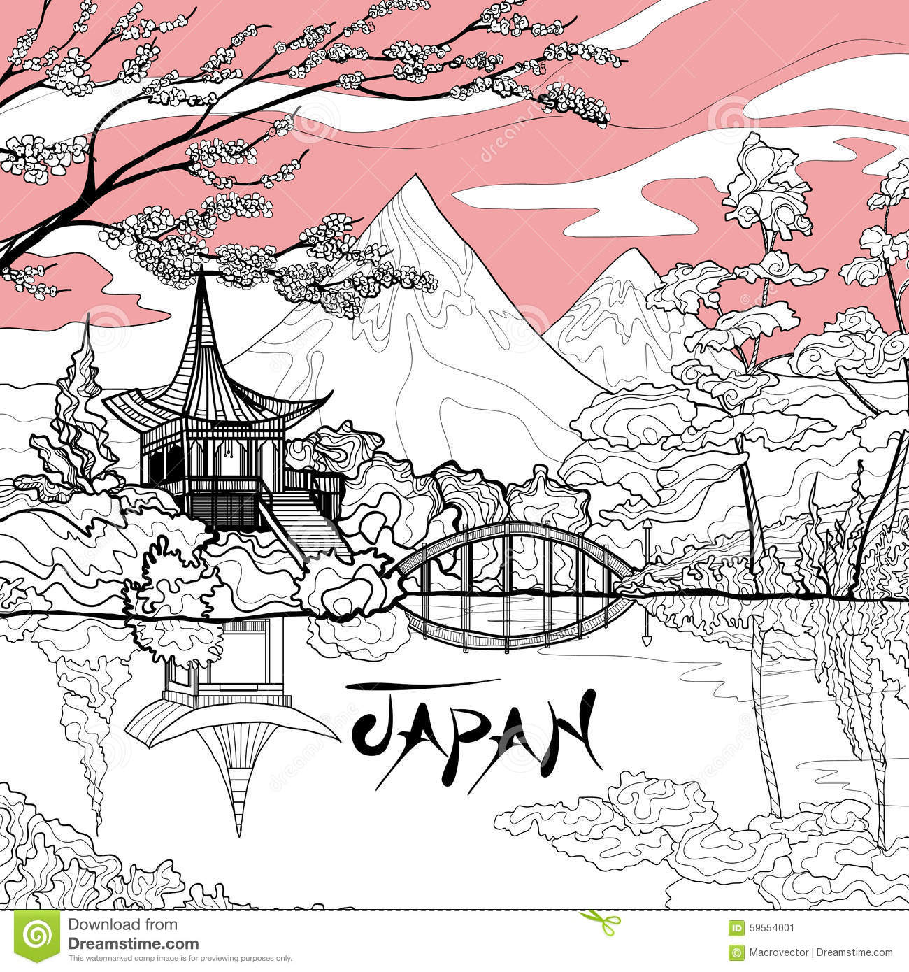 Japan Landscape Background Stock Vector Image - Japan map sketch