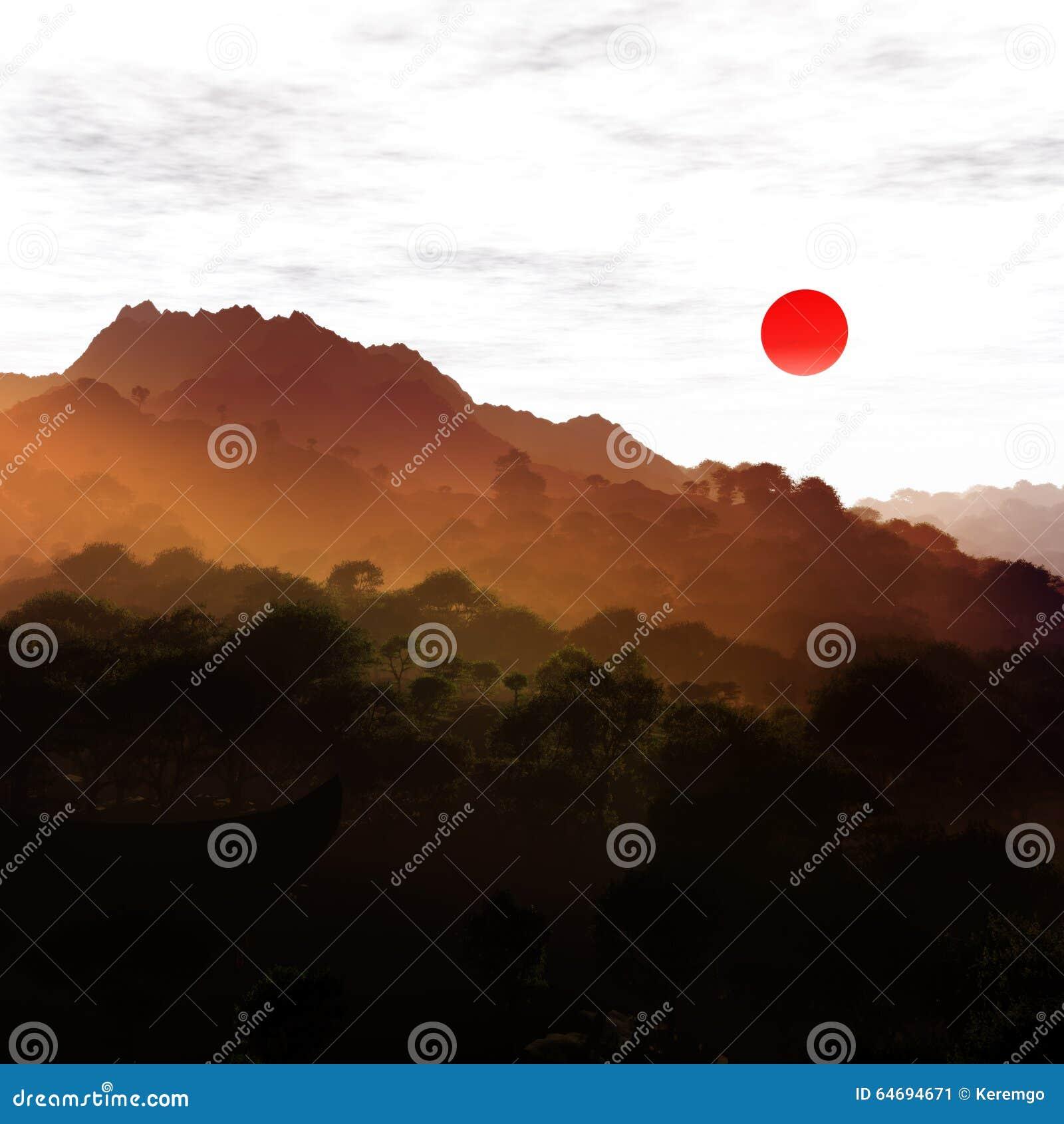 Japan Landscape Illustration