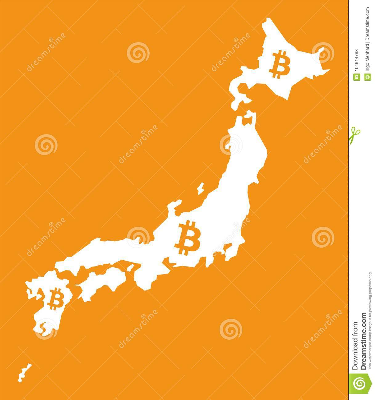 Japan Map With Bitcoin Crypto Currency Symbol Illustration Stock