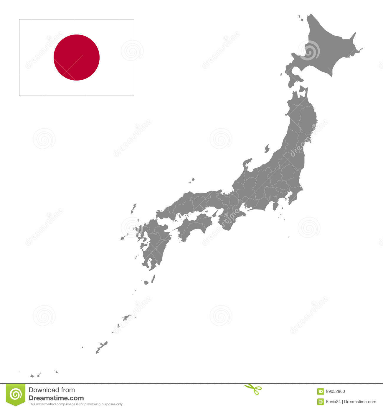 Japan Map Regions.Japan Map With Borders Of The Regions Detailed Vector Illustration