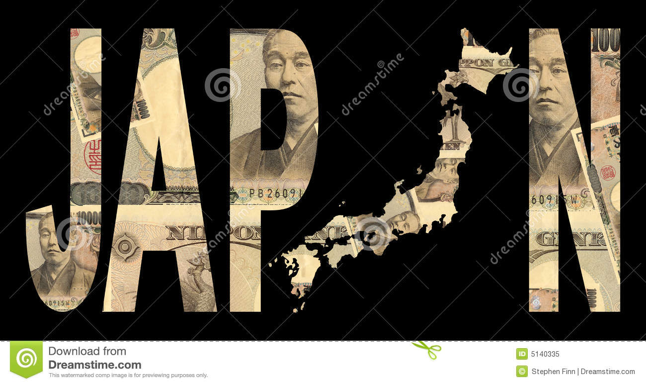 Japan map with cash
