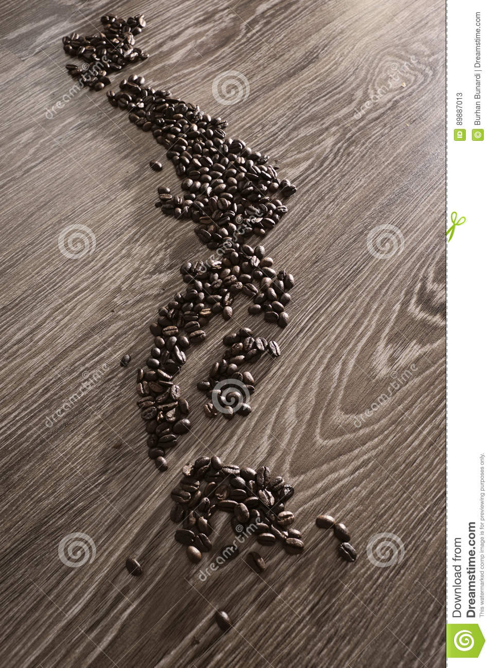 Japan map with coffee beans