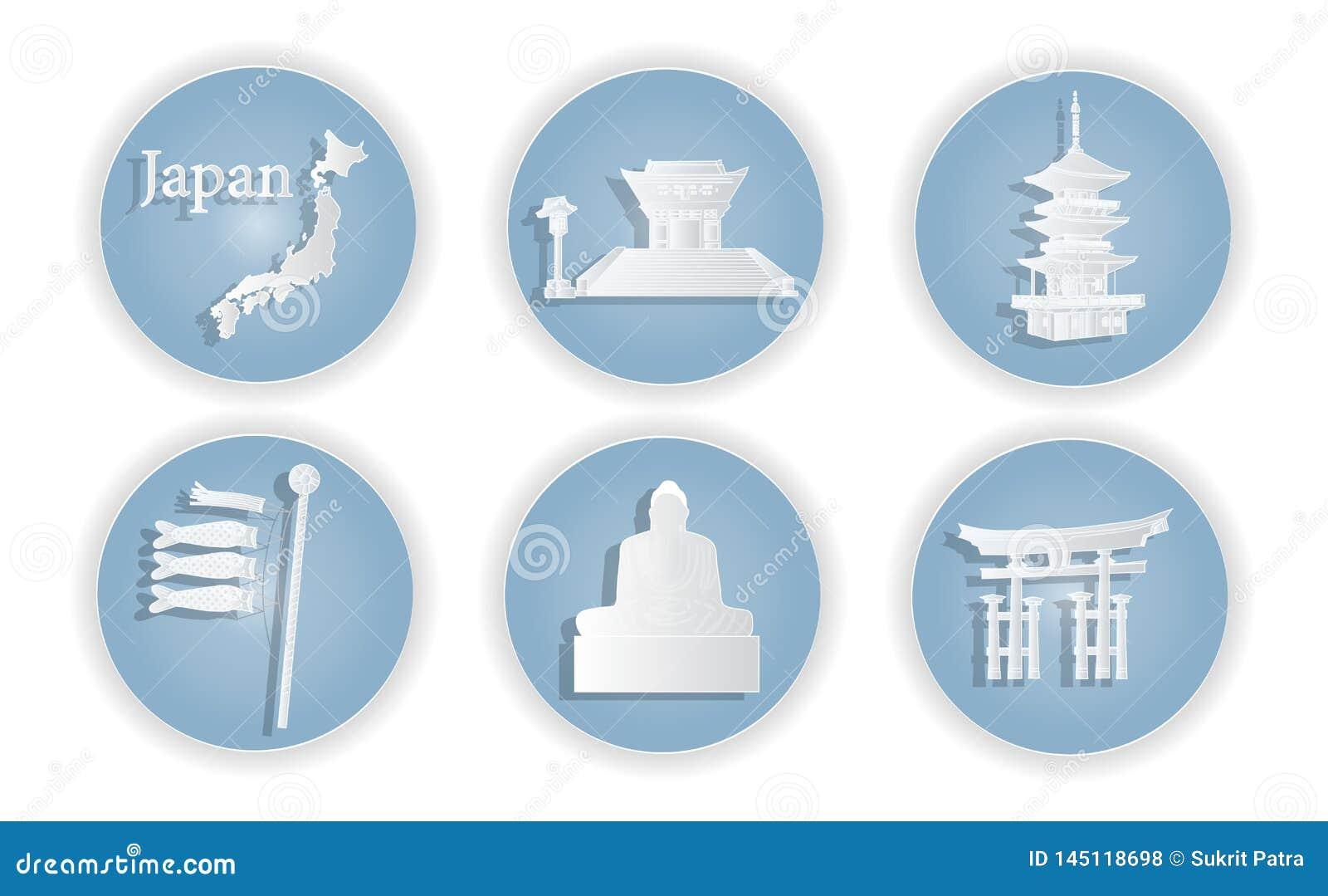 Japan met het beroemde Japanse ontwerp van het oriëntatiepunten Modieuze Web, vectorillustratie, papier-vectorknipsel